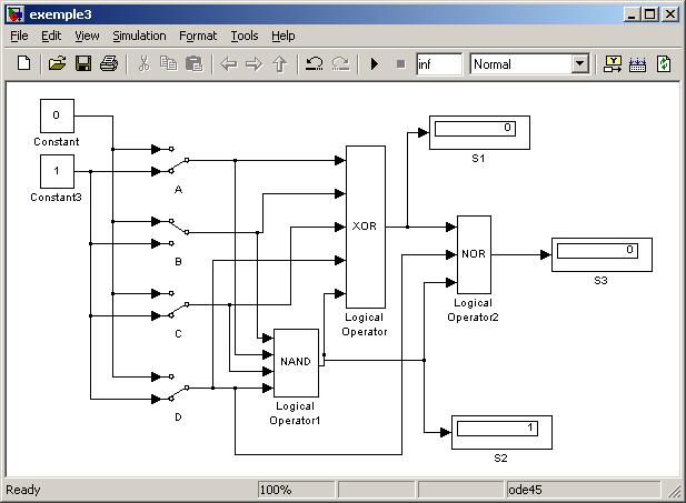 Matlab simulink et stateflow for Porte logique non et